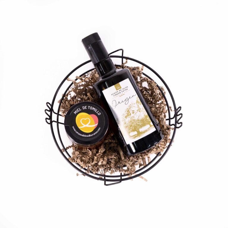 Aceite de oliva virgen extra, miel y frutero